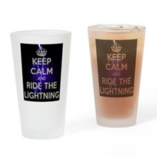 keep calm and ride the lightning Drinking Glass