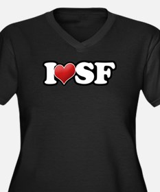Classic I Heart SF Women's Plus Size V-Neck Dark T