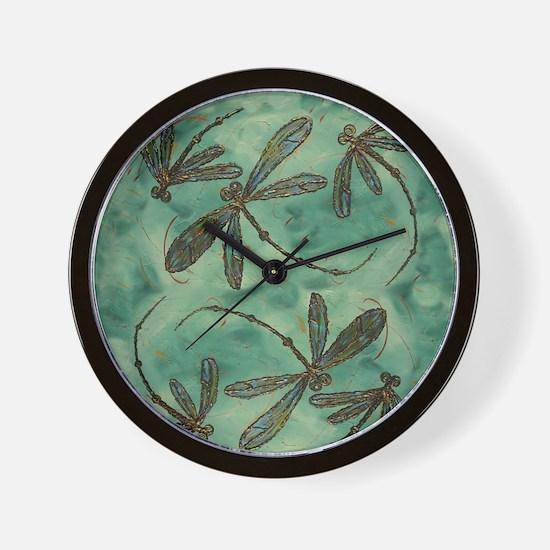 Dragonfly Flit Myrtle Green Wall Clock