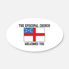 The Episcopal church welcomes you Oval Car Magnet