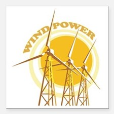 "Wind Power Square Car Magnet 3"" x 3"""