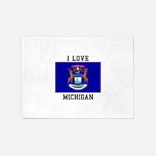 I Love Michigan 5'x7'Area Rug