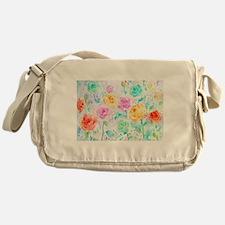 Watercolor Ranunculus Flower Pattern Messenger Bag