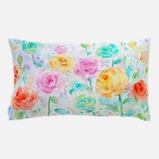 Watercolor Ranunculus Flower Pattern Pillow Case