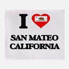 I love San Mateo California Throw Blanket