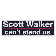 Scott Walker Can't Stand Us Bumper Car Sticker