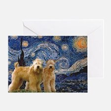 Starry Night & 2 Wheatens Greeting Card