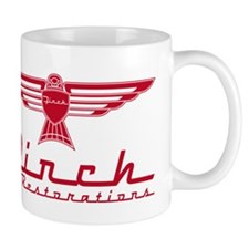 Finch Red On White Mugs