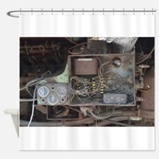 Wiring under train car Shower Curtain