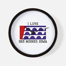 I Love Des Moines Iowa Wall Clock