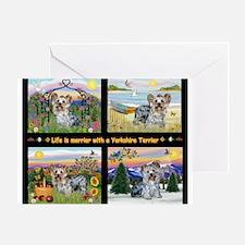 4 Seasons with a Yorkie Greeting Card