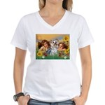 Angels with Yorkie Women's V-Neck T-Shirt