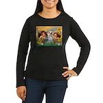Angels with Yorkie Women's Long Sleeve Dark T-Shir