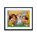 Angels with Yorkie Framed Panel Print