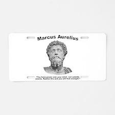 Aurelius: Strength Aluminum License Plate