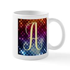 Rainbow Dots Monogram Letter A Mugs