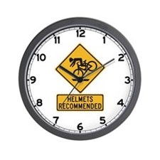 Helmets Recommended w/text - USA Wall Clock