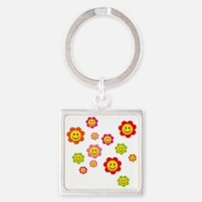 Flower Power smiley Square Keychain