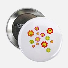 "Flower Power smiley 2.25"" Button"