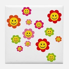 Flower Power smiley Tile Coaster