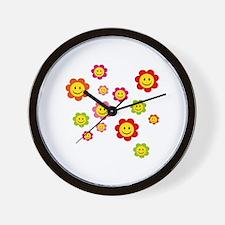 Flower Power smiley Wall Clock