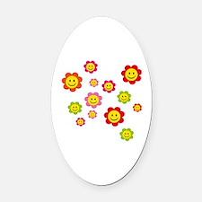 Flower Power smiley Oval Car Magnet