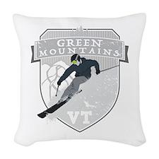 Ski Green Mountains Woven Throw Pillow