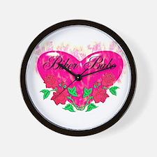 BIKER BABE HEART Wall Clock