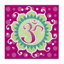Lotus Aum Fuschia - Tile Coaster