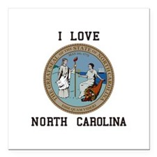 "I love North Carolina Square Car Magnet 3"" x 3"""