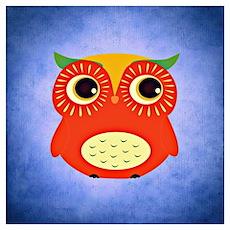 Cute orange cartoon owl. Poster