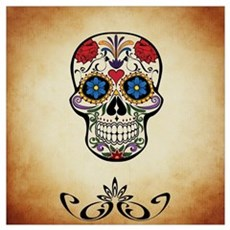 Sugar skull with Brown Background. Canvas Art