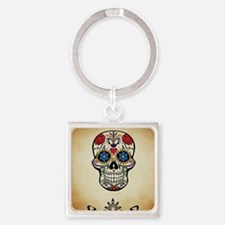 Sugar skull with Brown Background. Square Keychain