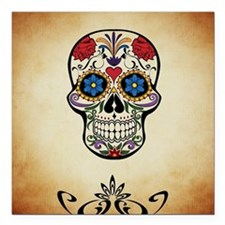 "Sugar skull with Brown B Square Car Magnet 3"" x 3"""