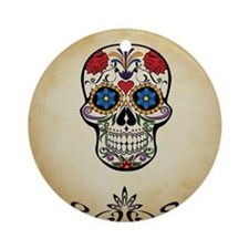 Sugar skull with Brown Background. Round Ornament