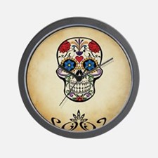Sugar skull with Brown Background. Wall Clock
