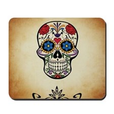 Sugar skull with Brown Background. Mousepad