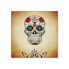 "Sugar skull with Brown Back Square Sticker 3"" x 3"""