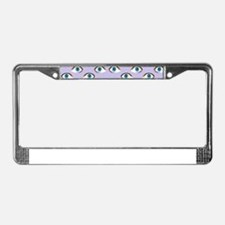 purple eyes License Plate Frame