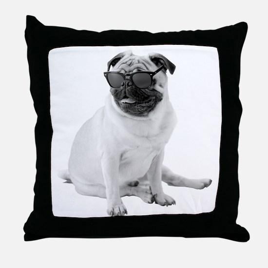 The Shady Pug Throw Pillow