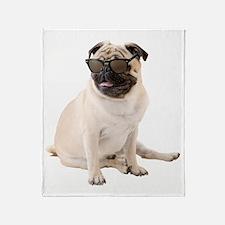 The Shady Pug Throw Blanket