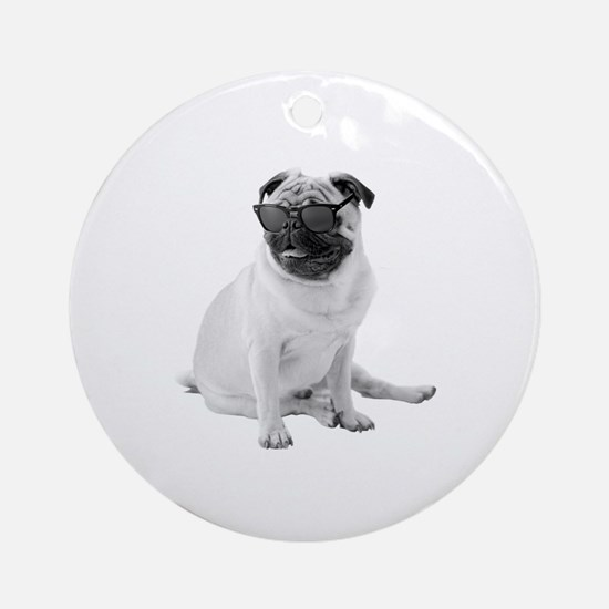The Shady Pug Round Ornament