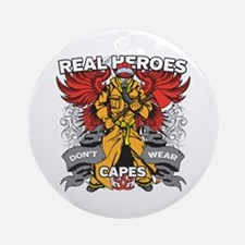 Real Heroes Firefighter Ornament (Round)