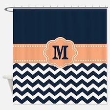 Navy Peach Chevron Monogram Shower Curtain
