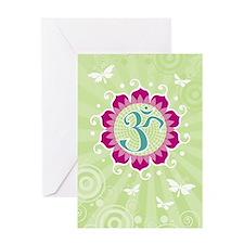 Lotus Aum Green - Blank Greeting Card