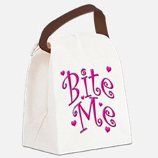 BiteMePink 10x10.png Canvas Lunch Bag