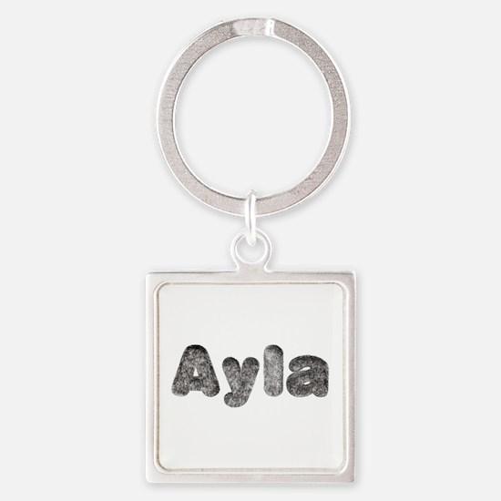 Ayla Wolf Square Keychain