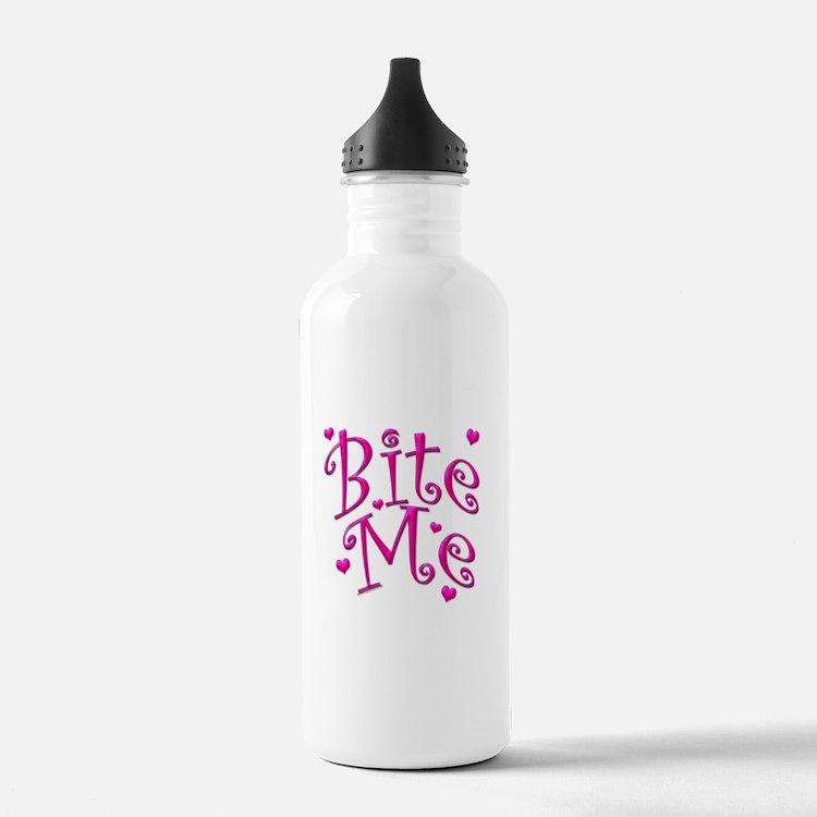 BiteMePink 10x10.png Water Bottle