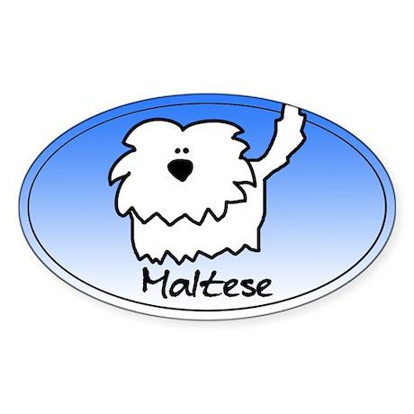 Fuzzie Maltese Oval Sticker