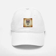 Sugar skull with Brown Background. Baseball Baseball Cap